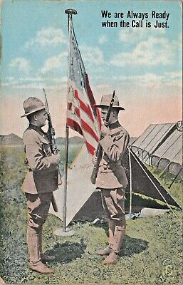 Postcard WWI US Flag Soldiers Rifles Attention Always Ready D2