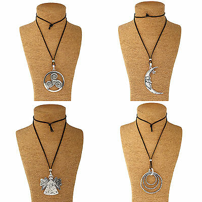 A Large Statement Moon/Angel/Ring  Pendant Long Suede Cord Necklace Lagenlook