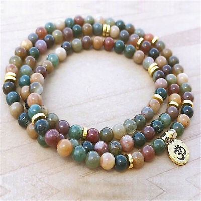 6mm Natural Indian Agate 108 Beads Pendant Bracelet Cheaply Healing Meditation