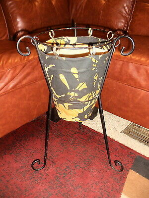 Very Rare Mid Century Iron/Metal Standing Sewing Basket with Fitted Cloth Liner