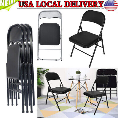 Magnificent Vintage Samsonite Metal Folding Chairs Black With Vinyl Pads Pdpeps Interior Chair Design Pdpepsorg