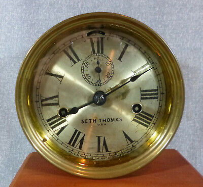 Pre-WWII Vintage Seth Thomas Brass Maritime Clock with Second Hand