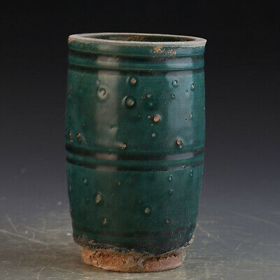 Chinese ancient antique hand make Green glaze  Porcelain decoration F2