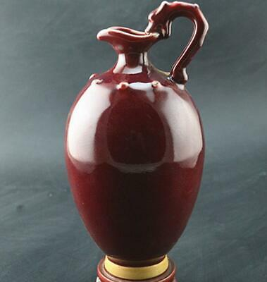 chinese old handmade Red glaze porcelain Dragon handle the bottle 08746