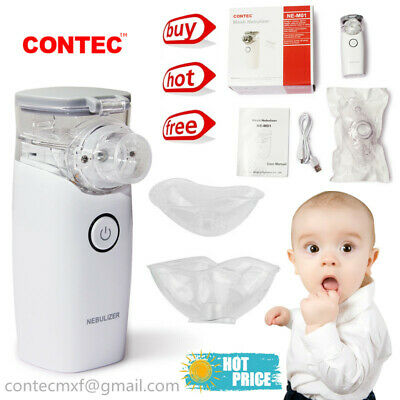 CONTEC Portable Travel Nebulizer Mesh Inhalers Adult Kid 2 Masks Chargeable,NEW