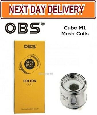 GENUINE OBS M1 MESH Coils for OBS Cube Tank Kit | Draco Replacement Heads (5 Pk)