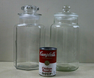 Lot Of 2 Large Vintage / Antique Clear Glass Apothecary Drugstore Candy Jars