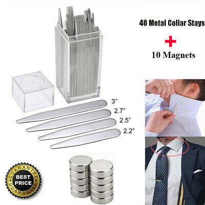 40 Metal Collar Stays + 10 Magnets 4 Various Sizes With Box For Men Dress Shirts