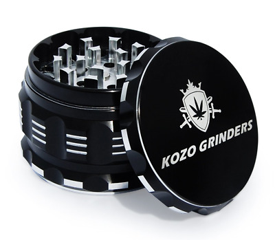 "Kozo Best Herb Grinder [Upgraded Version]. Large 4 Piece, 2.5"" Black Aluminium"