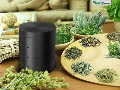 5 Piece 4 Chambers Black Tobacco Herb Grinder Spice Herbal Zinc Alloy Smoke New