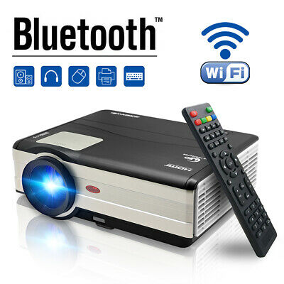 Android 6.0 Bluetooth Smart Home Cinema Projector Wifi Night HDMI HD 1080p Movie