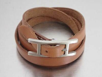 Auth HERMES Square F (2002) Api 3 Bracelet Brown Leather/Silvertone - e43133