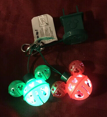DISNEY PARKS Mickey Mouse Jingle Bell Keychain Light UP NEW