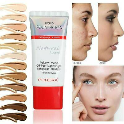 PHOERA Foundation Makeup Full Coverage Liquid-Base Velvety Matte Long-Lasting