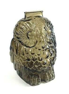 """""""Wise Old Owl"""" Coin Piggy Bank Brown Gray Glass Excellent Condition"""