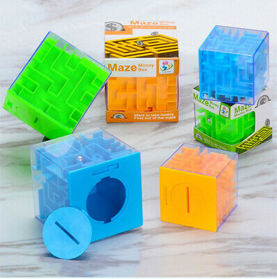 Creative Money Maze Bank Puzzle Coin Cube 3D Box Saving Cash Kids Gift Blue NEW
