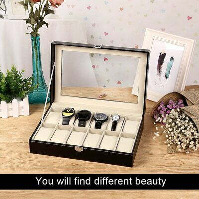 12 Grids Slot Watch Display Storage Case Jewelry Collection Box Organiser Holder