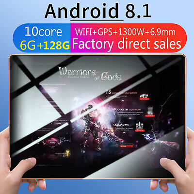 10.1'' Tableta 3G Android 8.1 Ten core Tablet PC 6+128GB WiFi 16MP Cámara 2 SIM