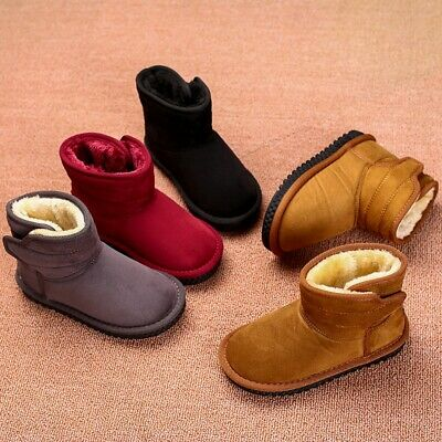 Kids Boys Girls Warm Fur Slip On Shoes Ankle Boot Winter Snow Shoes Booties Size