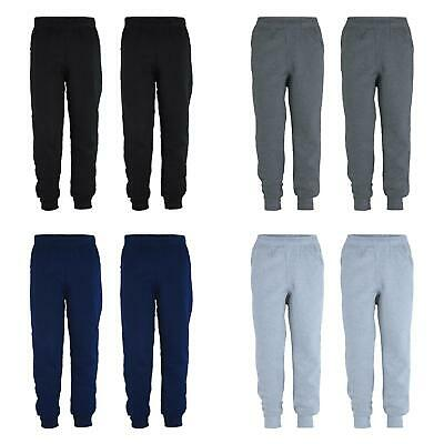 Kids Pants Plain Boys Tracksuit Bottoms Girls Fleece Joggers Bundle (Pack of 2)