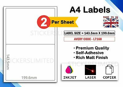 100 x A4 Sheet Address-2 Labels Per sheet Matt Self Adhesive Paper All Printer