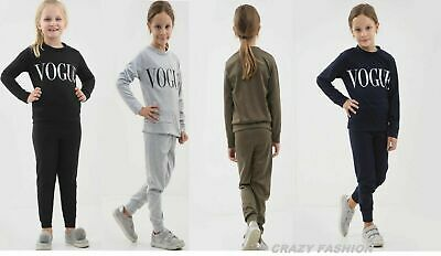 New Kids Vogue Print Girls Long Sleeve Crew Neck Causal Track Suit Uk 7-13 Year