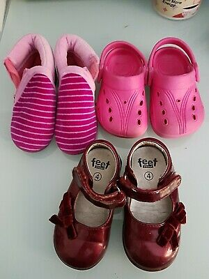 Bundle Of Girls Shoes Toddler Size 4 Slippers  size 5 crocs