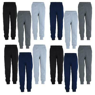 Kids Trousers Plain Girls Tracksuit Jogging Bottoms Boys Pants Bundle (Pack of3)