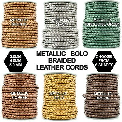 Xsotica-Braided Bolo Metallic Leather Cords-3 mm/4 mm/ 5 mm- 1 Yard