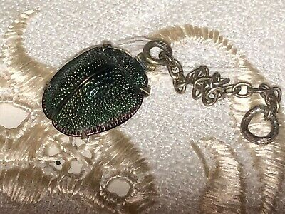 Victorian Egyptian Revival Real Scarab Beetle pendant 800 silver