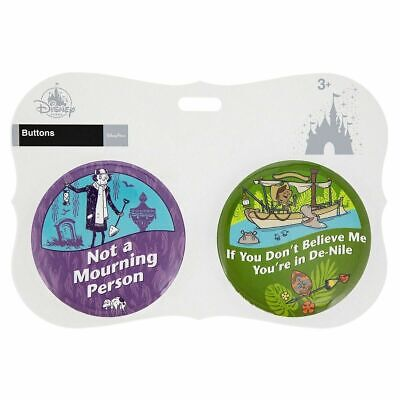 Disney Parks The Haunted Mansion & Jungle Cruise Buttons Set Of 2 New