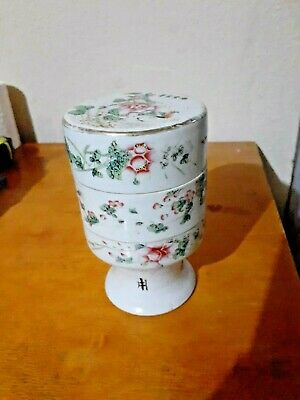 ANTIQUE CHINESE CANTON Porcelain THREE TIER BOX, hand painted, fine condition