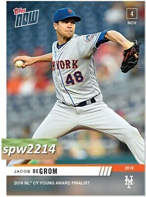 2019 Topps Now Jacob deGrom #OS17 NL Cy Young Award Finalist