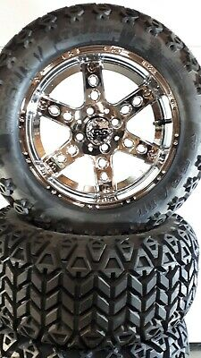 14'' Chrome golf cart wheel and DOT tire assembly, Chrome DOMINATOR STYLE