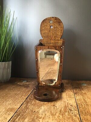Antique Mirrored Oak Wooden Candle Box Candlestick Holder Church Ecclesiastical