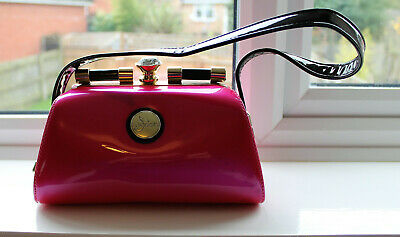 Handbag By Peach Accessories - Pink With Black And Patent