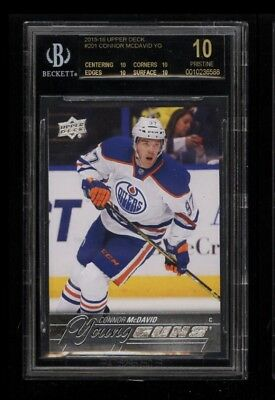 2015 Upper Deck Young Guns Connor McDavid #201 ROOKIE RC BGS 10 BLACK LABEL