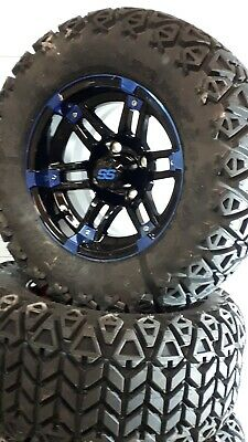12'' golf cart wheel and DOT tire assembly, BLUE & BLACK NEW STYLE