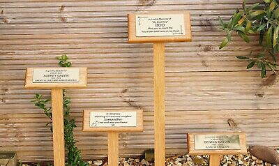 Angled Solid Oak Personalised Engraved Memorial Stake Grave Tree Plaque Options