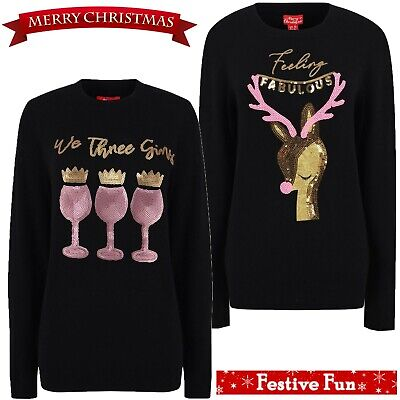 Ladies Christmas Novelty Gin Jumper Sequin Sparkly Xmas Top Womens Tunic Sweater