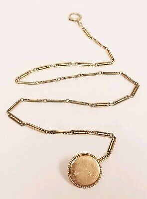 Antique Watch Chain 14K Solid Gold Unusual Links vest button Fob