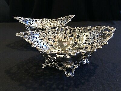 Antique Pair of Theodore Starr .925 Sterling Silver Candy Dishes with Hallmarks