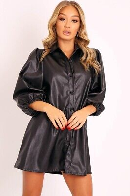 Women Ladies Faux Leather Shirt Bell Cuff Sleeve Button Up Collared Blouse Dress