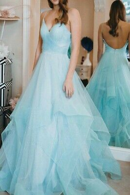 Beautiful HEBEOS Sparkling  Wedding,Prom, Party, Dinner, Evening Blue Dress