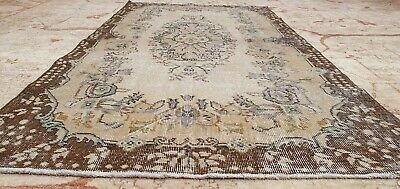 """Rare Antique 1940's Distressed Wool Pile Natural Dye Oushak Area Rug 3'7""""×6'8"""""""