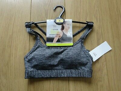 Marks & Spencer Active Grey Marl Medium Impact Non Wired Sports Bra Uk Size 6