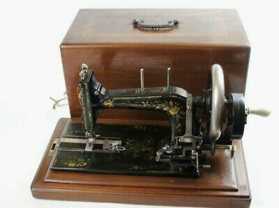19C Antique Frister & Rossmann Hand Crank Sewing Machine [5658]