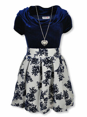Beautees Girls' 2-Piece Skirt Set Outfit with Necklace