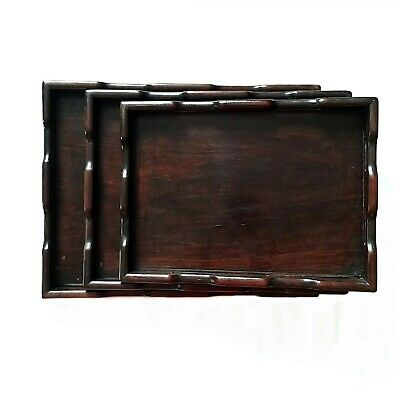 Antique Set of 3 Trio Triplet Mahogany Wood Nesting Breakfast Serving Trays