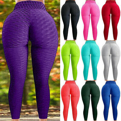 Women's Push Up Yoga Leggings Pants High Waist Sports Ruched Workout Fitness O27